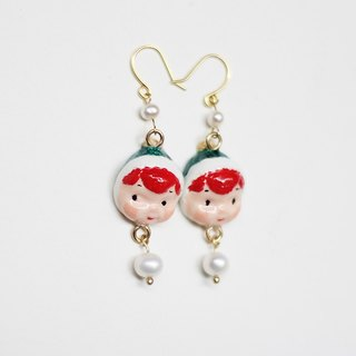 paramecium Fez [Kurt] Stone Sculpture clay earrings handmade original design Funny cute pearl