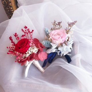 Eternal Corsage groom corsage corsage wedding dry flowers (please note the color pink or red, if no remarks and random shipments)