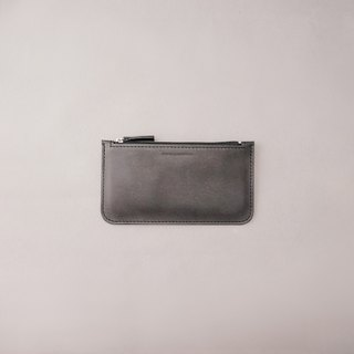 Flat long folder leather wallet wallet / black vegetable tanned leather / handmade leather goods