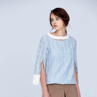 AEVEA rear fake placket stitching woven shirt