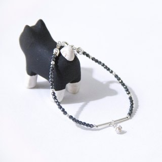 Black and white lines / small snowball - Tie Dan Stone 925 Silver Bracelet