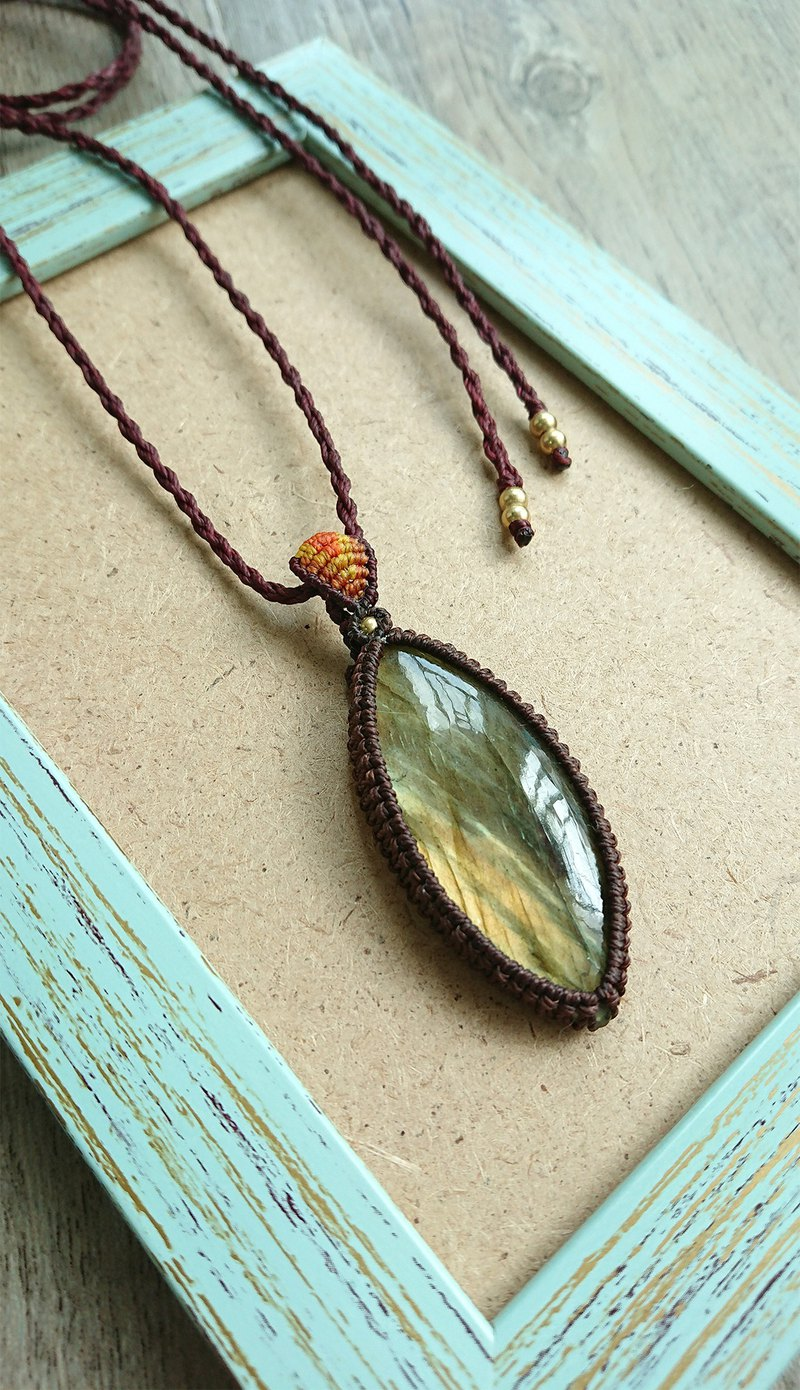 Misssheep P23 Bohemian National Wind South American Wax Line Braided Brass Labradorite Pendant Necklace