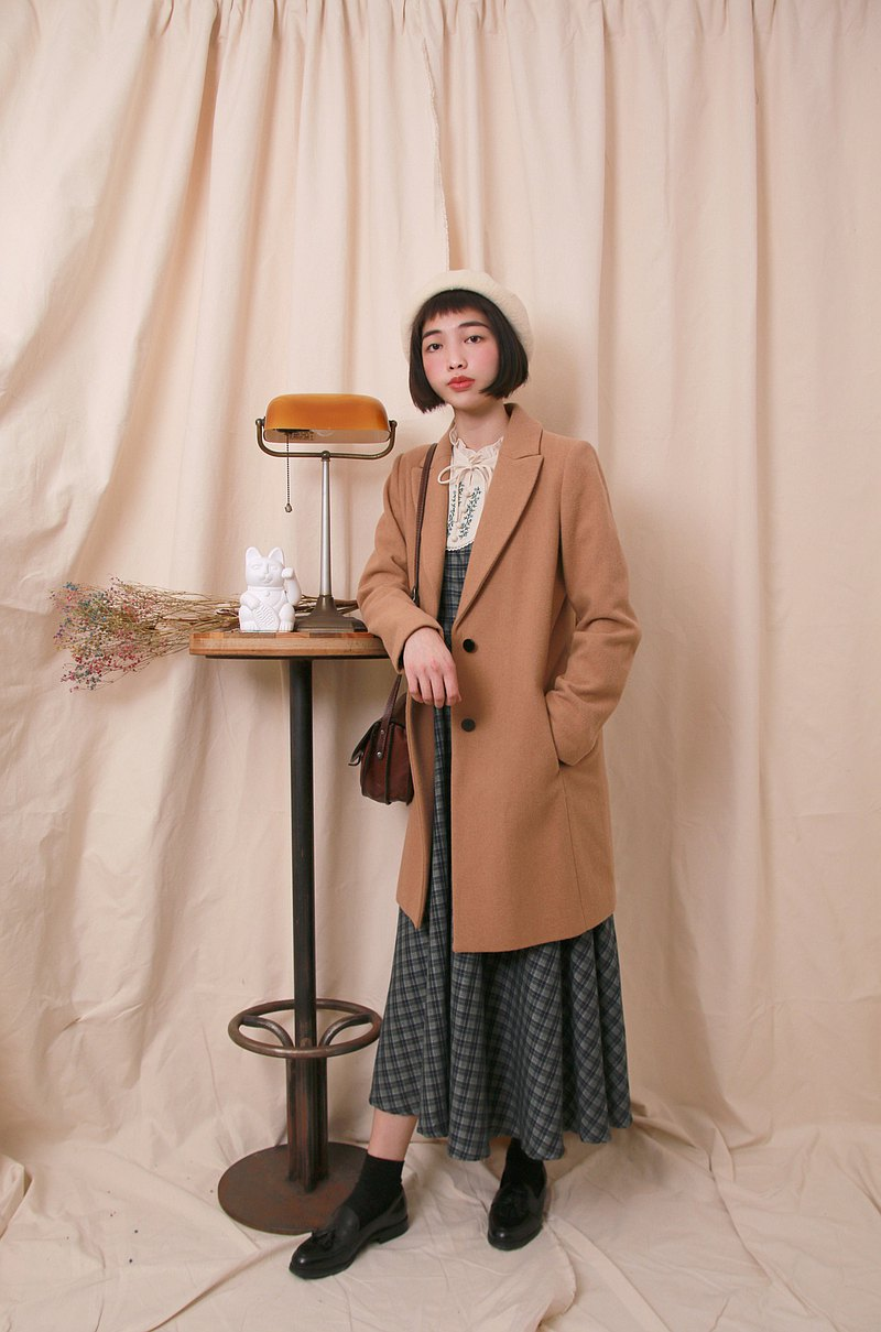 Back to Green:: 羊毛大衣 SISLEY卡其 vintage overcoat