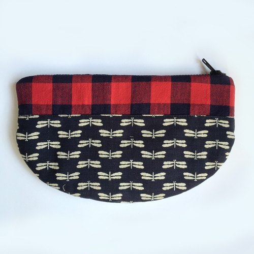 Clutch Purse, Japanese Indigo, Dragonfly, Classic Plaids