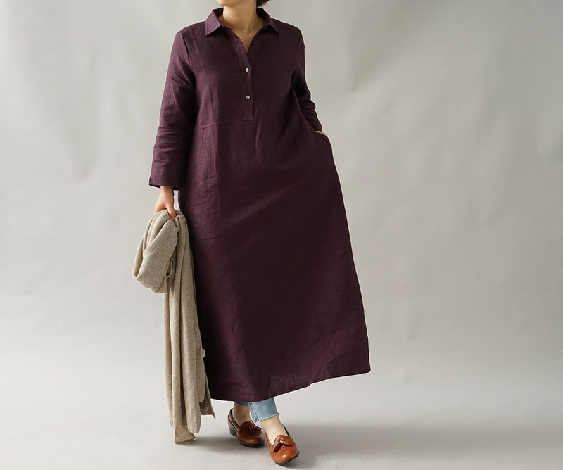 warm linen / raised fabric / shirt dress / A line dress / long dress / a64-13