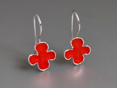 Sterling Silver Enamel color plant fresh summer Sen female flowers earrings ear hook earrings Lucky Clover R060 simple and elegant design creative birthday gift | Greek original handmade jewelry This and That
