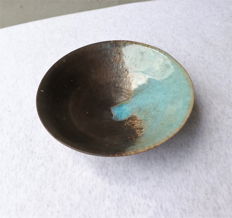 Bronze lake blue shallow dish