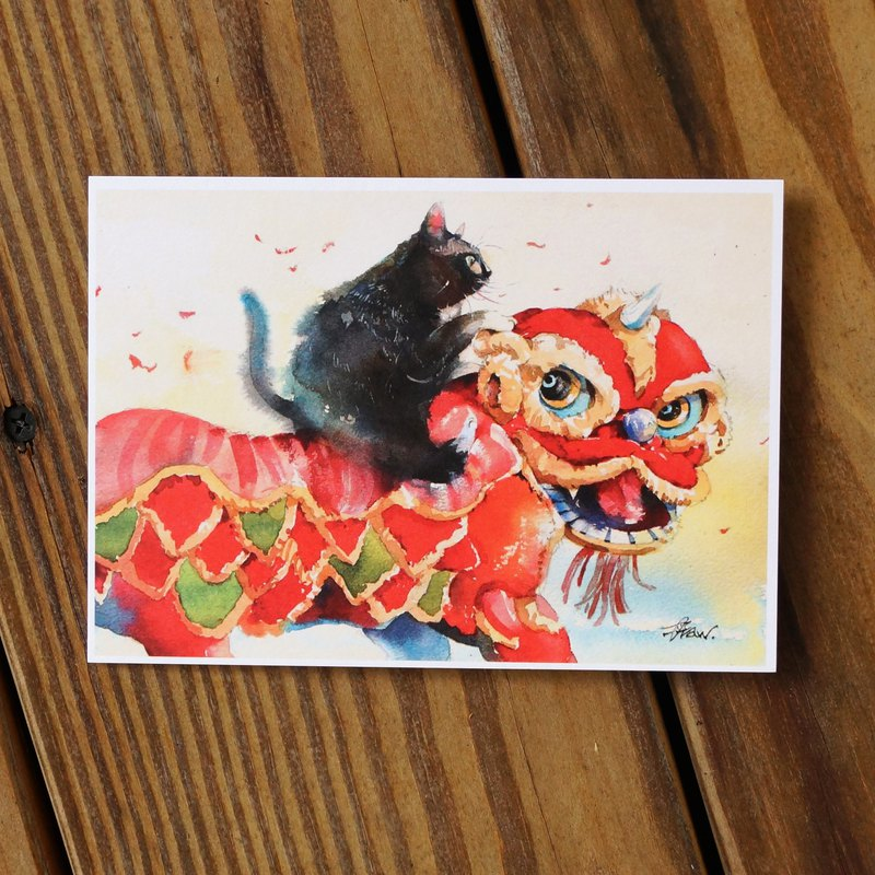 Watercolor painted hair series postcards - cat lion dance