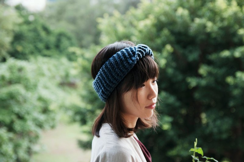 Twisted bow headband / dual-use collar - fog blue