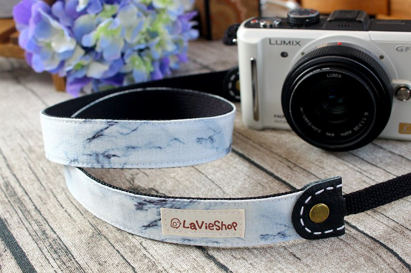 Marble pattern (White) 25mm Handmade Camera strap GF/NEX/DLSR/M43 Customizable