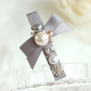 Colored Pearl with Ribbon Hair Clip