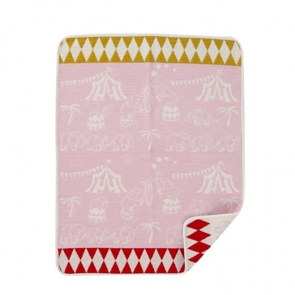 Swedish Klippan Organic Cotton Blanket - Elephant Circus (Sweet Heart Powder)