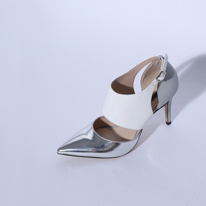 Special wide version of the thin buckle pointed leather fine high-heeled silver