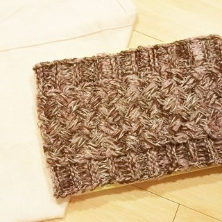 Lan hand-made knit headband (mohair yarn coffee)