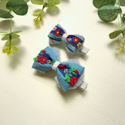 Parenting Sisters Kids Children's Hairpins Plush Denim Embroidery Flowers (paired)