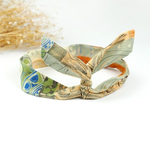 Calf Village Calf Village Handmade Hairpin Aluminum Multipurpose Headband Retro Abstract Autumn Colors {Cheng Huang Orange Green} 【A-221】