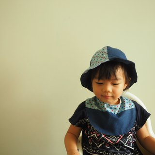 Handmade reversible blue star hat and bib gift set