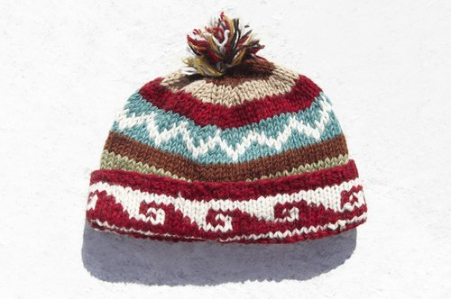 Exchange gift creative gift handmade pure wool hat / knitted hat / knitted hat / inner bristles hand knit hair hat / wool cap - Nordic Fell Island totem (manual limited one)