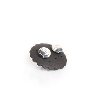 Black Line Classic Black Horizontal Series Porcelain Earrings Simple Round Stainless Steel Ear Pin Cookies Factory