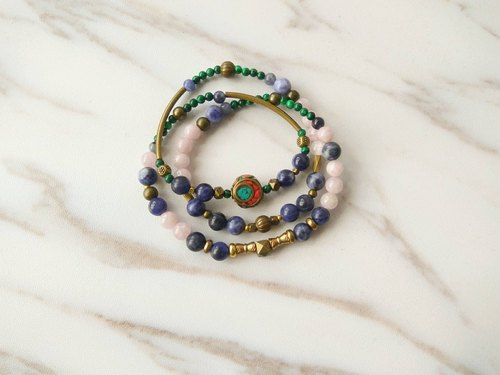 [Spirit and Spirit ∞ Little Treasure] Purple Pheromone Malachite Blue Plane Soda Stone Handmade Brass Accessories. Male / Female / Neutral Three Rings Necklace Bracelet Gifts