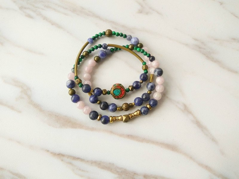 [Spiritual treasure] Purple spodumite malachite blue stone soda stone brass necklace bracelet