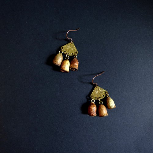 Textured Totem Handmade Natural Fruit Earrings