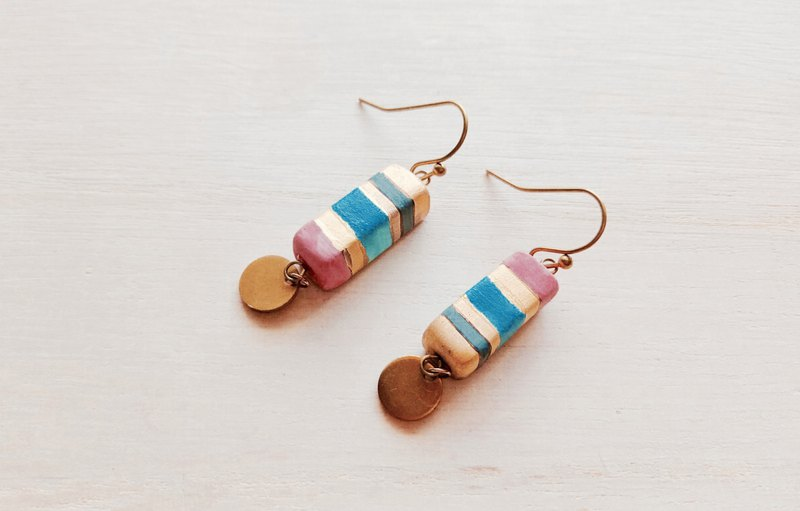Pink, blue and gold glazed pottery earrings