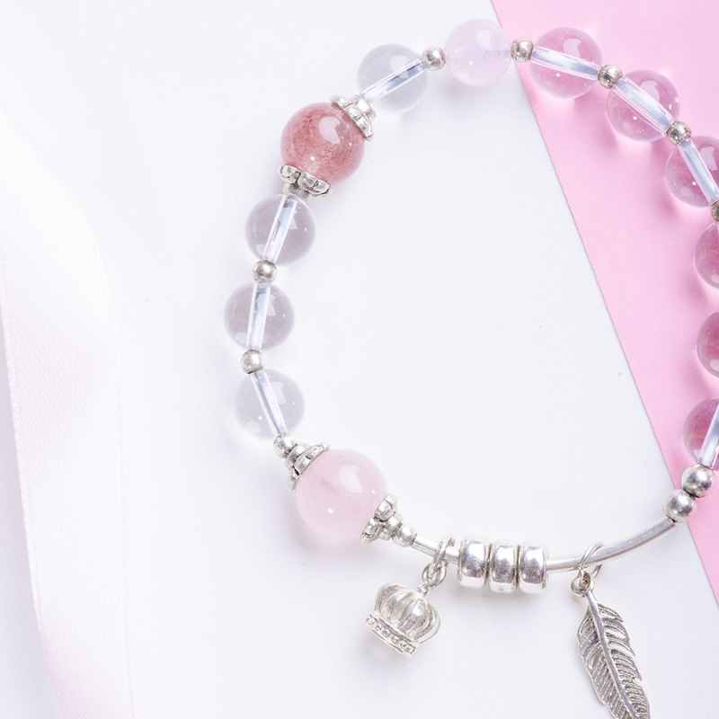 [Beast Rose] White Crystal / Pink Crystal / Strawberry Crystal / Sterling Silver Feather Crown / Single Ring Bracelet