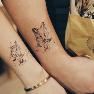cottontatt mr fox mrs bunny temporary tattoo stickers set