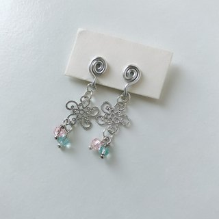 Painless aluminum wire ear clips - spring flowers - two colors optional