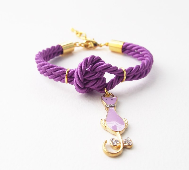 Purple knot rope bracelet + kitten charm