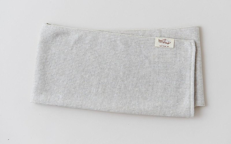 Linen Knit Stripe Face Towel Natural × White