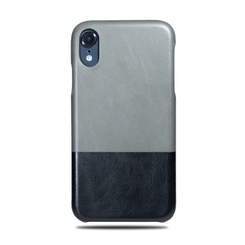 Customized light grey with black leather IPHONE XR phone case