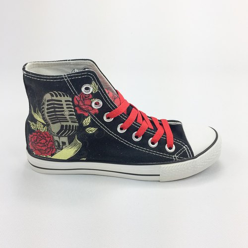 New Designer Series - 850Collections - Canvas shoes (black shoes red band) -AH04