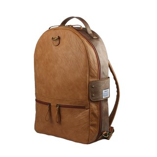 AMINAH-Brown double-sided leather backpack [am-0307]