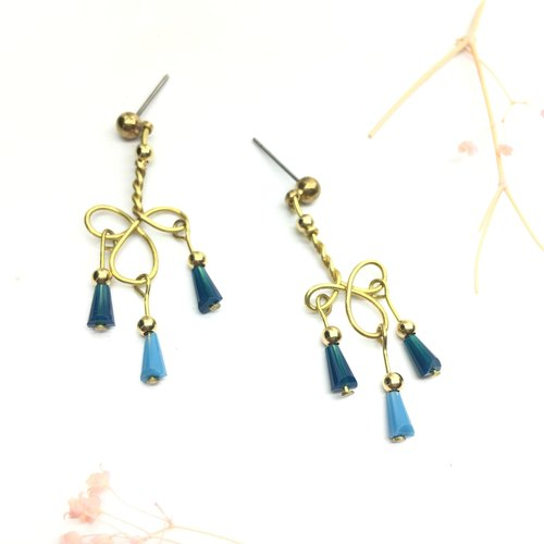 Laurin Grocery Travelin hand-made brass Japanese glass tassel earrings ear hook l ear needle l ear clip