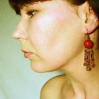 Red Enamel Earrings, Classical Style, With Ornaments
