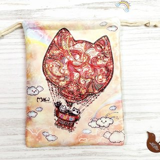 Bunch pocket / storage bag l cat hot air balloon l thick ultra-soft flannel