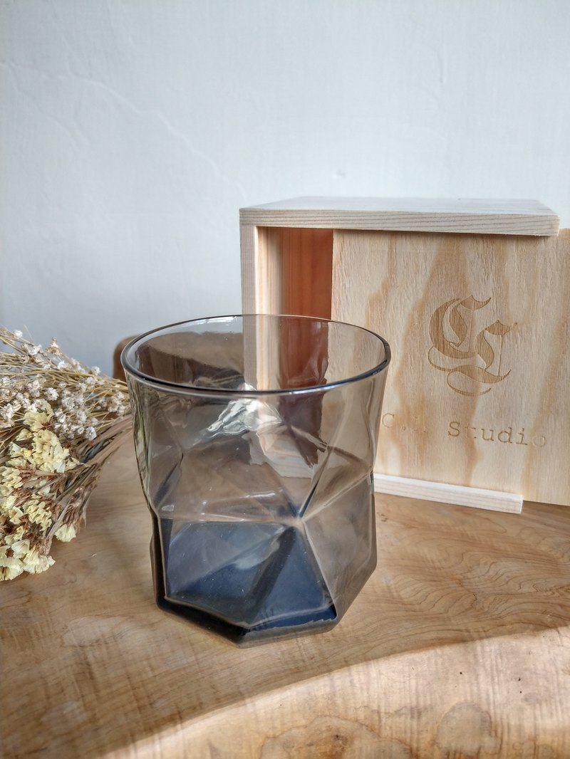 Gift limited wooden box Italy Bormioli Rocco Geometry Cup (black) glass lettering customization