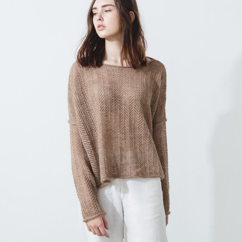 Alpaca fishnet knit loose fit sweater - Sand