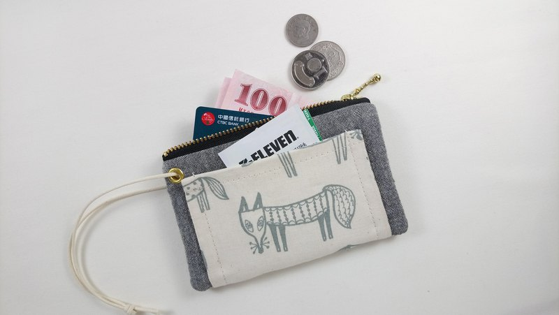 [FXS / Four Space Coin Purse] Little Fox. Gray Black