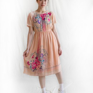 Pink oil color grate short sleeve vintage dress
