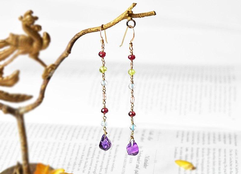 天然紫晶14KGF耳環