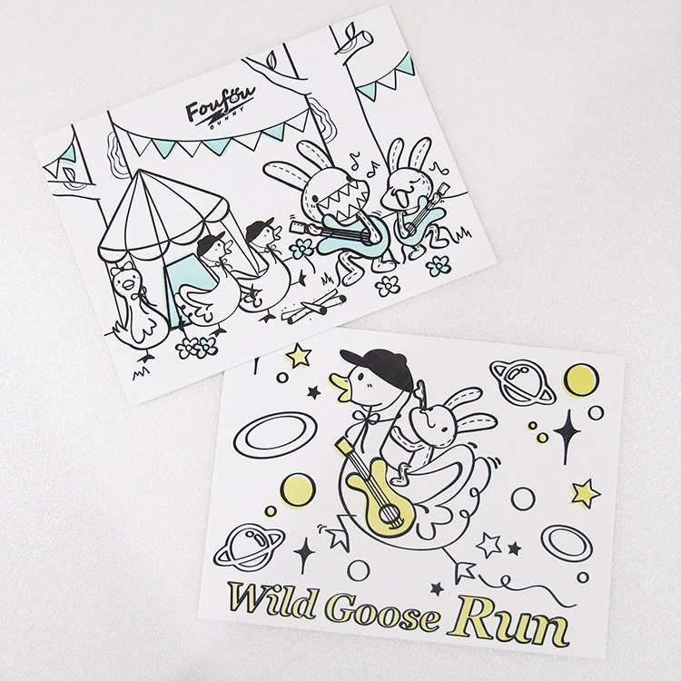 """Foufou"" typography postcards set - Wild Goose Run"