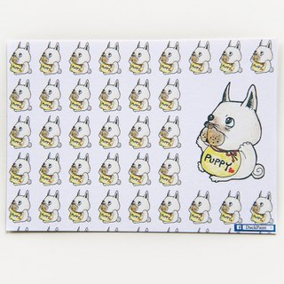 Postcard law fighting baby hugs color pencil illustration French Bulldog/postcard