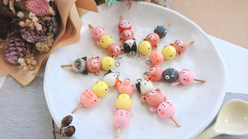 Cat friend sticky rice ball keyring