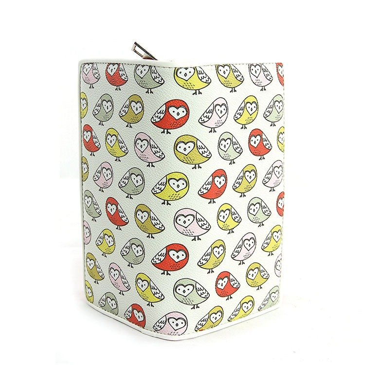 Ashley. M - Multi-Colored Owls Zip Around Bi-Fold Wallet