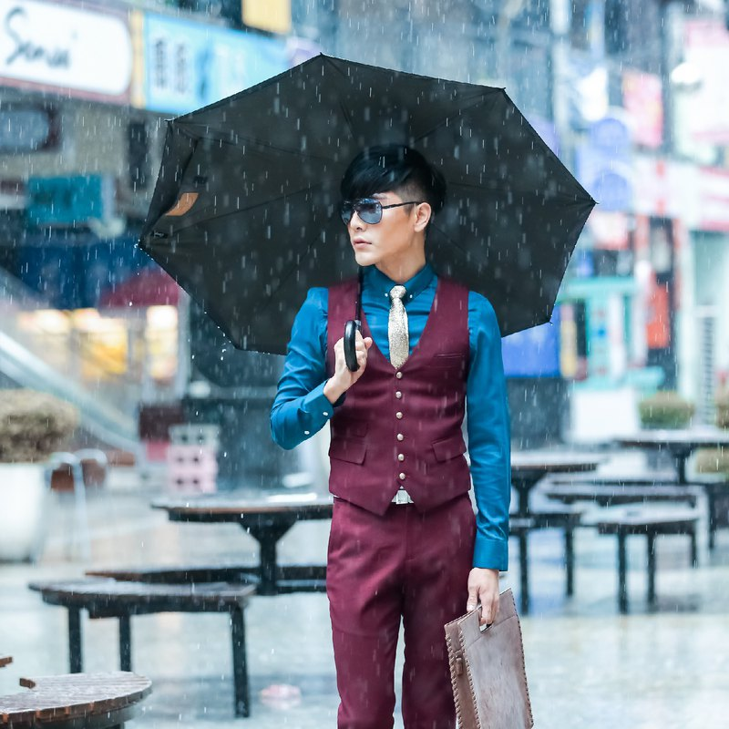 [Carry Umbrella] plaid double-layer reverse umbrella (silver gray / 21 吋)