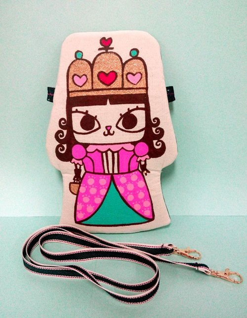 Original hand-painted hand-made brand-name cat hug doll holding small things oblique shoulder bag