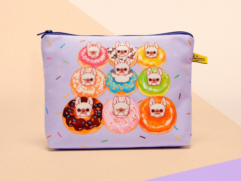 Happy Donut Purple Faux Suede Cosmetic Bag
